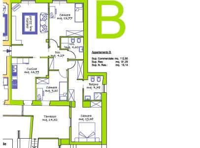Attualmente in fase di ristrutturazione/Soggiorno, Cucina, 3 Camere, Terrazzo interno.