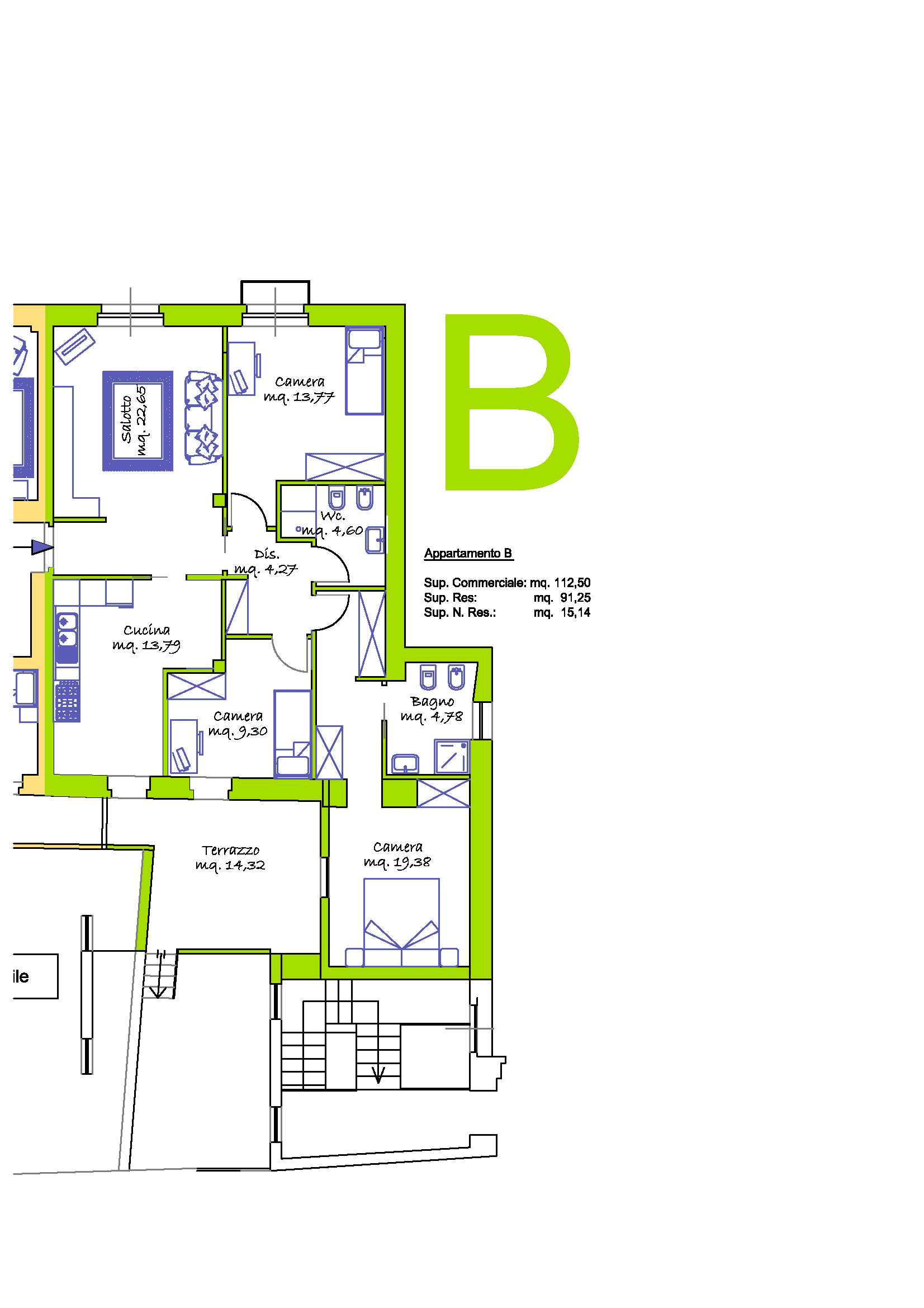 Appartamento  Soggiorno, Cucina, 3 Camere, Terrazzo interno.